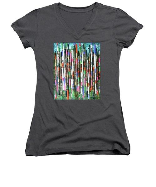 Hint Of Tiger - Sold Women's V-Neck T-Shirt (Junior Cut) by Judith Espinoza