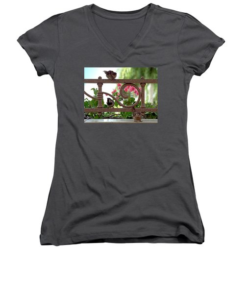 His Eye Is On The Sparrow Women's V-Neck T-Shirt (Junior Cut) by Marie Hicks