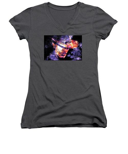 His Love Song  Women's V-Neck T-Shirt (Junior Cut) by Annie Zeno