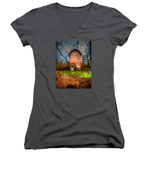 Historic Grist Mill In Hobart, In Women's V-Neck (Athletic Fit)