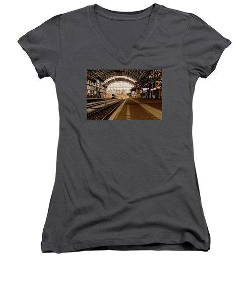 Historic Railway Station In Haarlem The Netherland Women's V-Neck T-Shirt