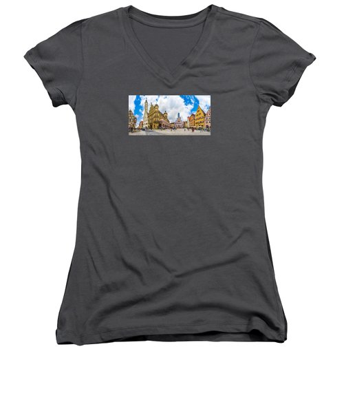 Historic Townsquare Of Rothenburg Ob Der Tauber, Franconia, Bava Women's V-Neck T-Shirt