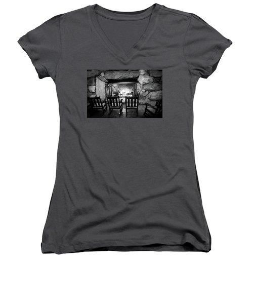 Winter Warmth In Black And White Women's V-Neck T-Shirt (Junior Cut) by Karen Wiles