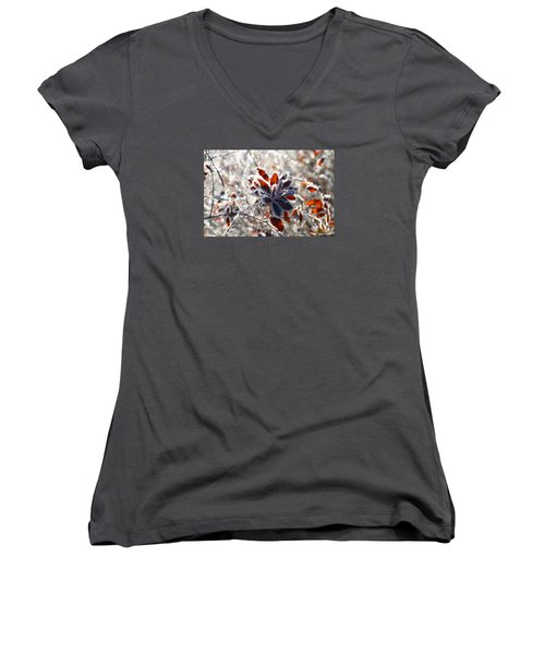 Women's V-Neck T-Shirt (Junior Cut) featuring the photograph Hoar Frost - Nature's Christmas Lights  by Peggy Collins