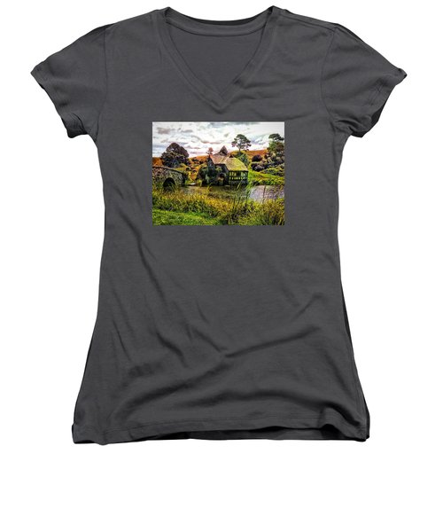 Women's V-Neck T-Shirt (Junior Cut) featuring the photograph Hobbiton Mill And Bridge by Kathy Kelly