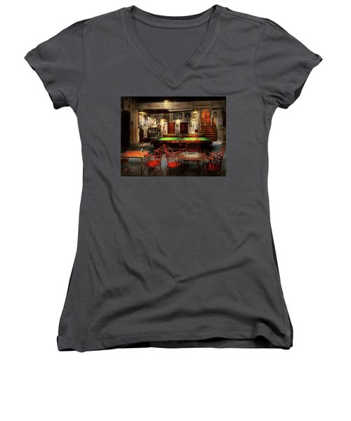 Women's V-Neck T-Shirt (Junior Cut) featuring the photograph Hobby - Pool - The Billiards Club 1915 by Mike Savad