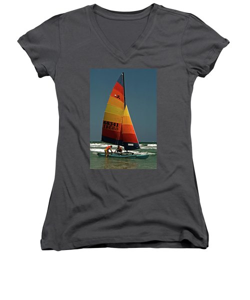 Women's V-Neck T-Shirt (Junior Cut) featuring the photograph Hobie Cat In Surf by Sally Weigand