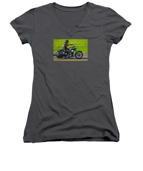 hog Women's V-Neck T-Shirt (Junior Cut) by Brian Stevens