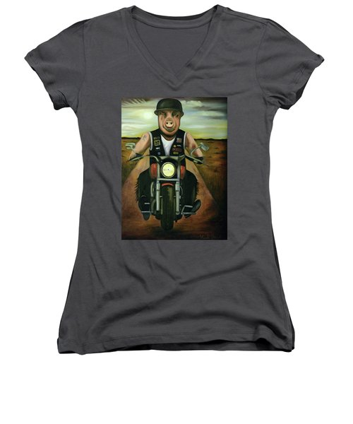 Women's V-Neck T-Shirt (Junior Cut) featuring the painting Hog Wild by Leah Saulnier The Painting Maniac
