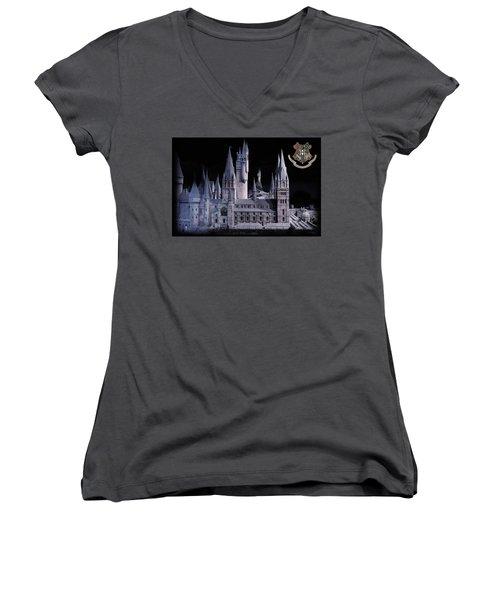 Women's V-Neck T-Shirt (Junior Cut) featuring the mixed media Hogwards School  by Gina Dsgn