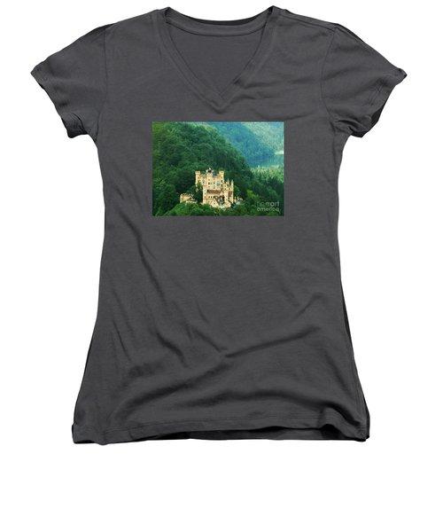 Hohenschwangau Castle 1 Women's V-Neck T-Shirt (Junior Cut) by Rudi Prott