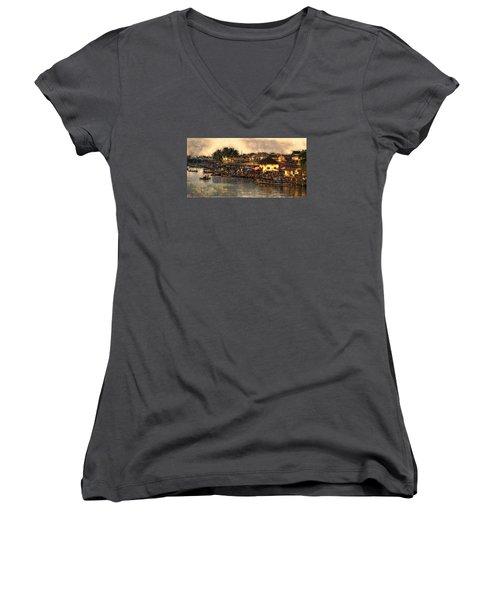 Women's V-Neck T-Shirt (Junior Cut) featuring the digital art Hoi Ahnscape by Cameron Wood