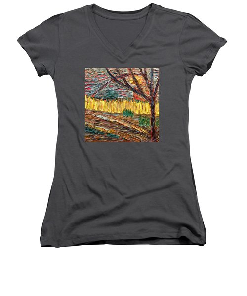 Hold The Thought Firmly... Women's V-Neck T-Shirt (Junior Cut) by Vadim Levin
