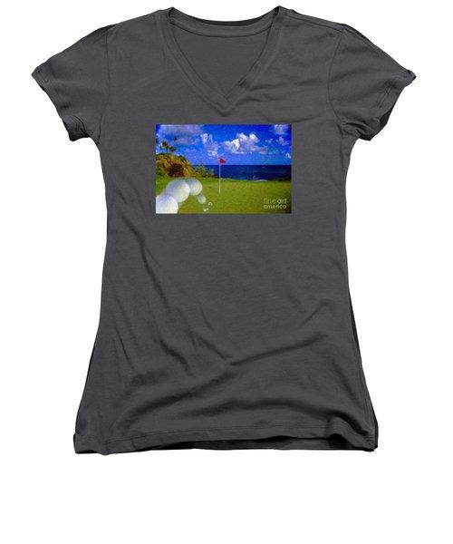 Women's V-Neck T-Shirt (Junior Cut) featuring the photograph Fantastic 18th Green by David Zanzinger