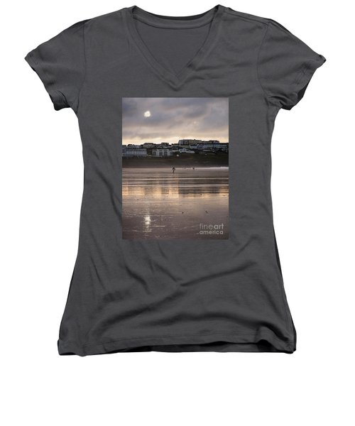 Hole In The Clouds Women's V-Neck T-Shirt (Junior Cut) by Nicholas Burningham