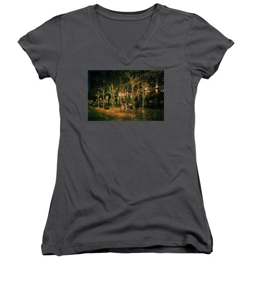 Women's V-Neck T-Shirt (Junior Cut) featuring the photograph Holiday Handsome Cab by Kristal Kraft