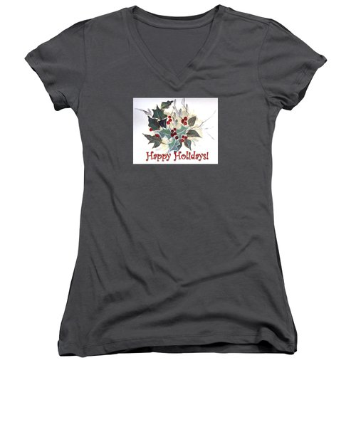 Holidays Card -1 Women's V-Neck T-Shirt (Junior Cut) by Dorothy Maier