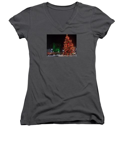 Women's V-Neck T-Shirt (Junior Cut) featuring the photograph Holidays Downtown by Christina Verdgeline