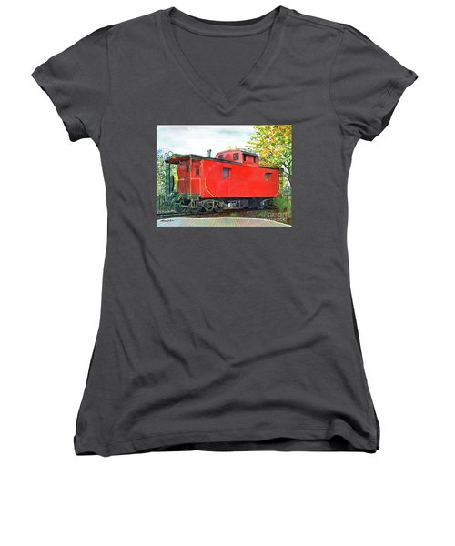 Women's V-Neck T-Shirt (Junior Cut) featuring the painting Holland Michigan Caboose by LeAnne Sowa