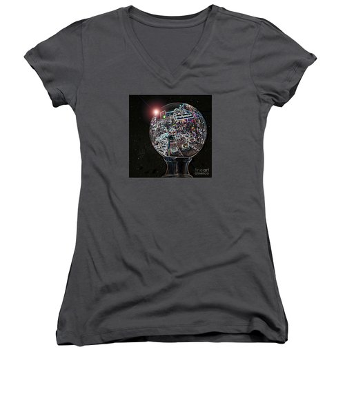 Women's V-Neck T-Shirt (Junior Cut) featuring the photograph Hollywood Dreaming - Square Globe by Cheryl Del Toro