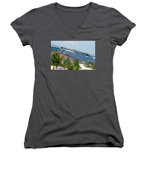 Women's V-Neck T-Shirt (Junior Cut) featuring the photograph Hollywood Sign On The Hill 1 by Micah May