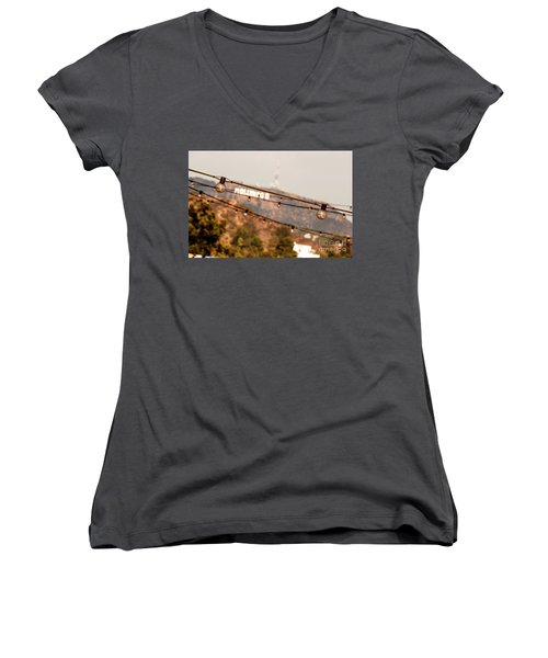 Women's V-Neck T-Shirt (Junior Cut) featuring the photograph Hollywood Sign On The Hill 2 by Micah May