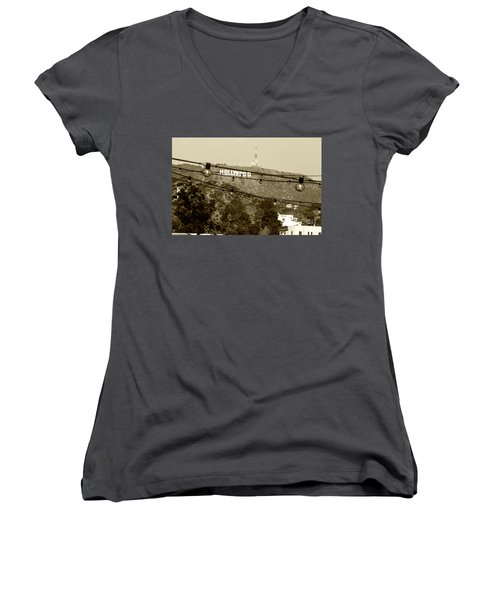 Women's V-Neck T-Shirt (Junior Cut) featuring the photograph Hollywood Sign On The Hill 4 by Micah May