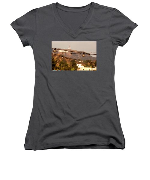 Women's V-Neck T-Shirt (Junior Cut) featuring the photograph Hollywood Sign On The Hill 5 by Micah May