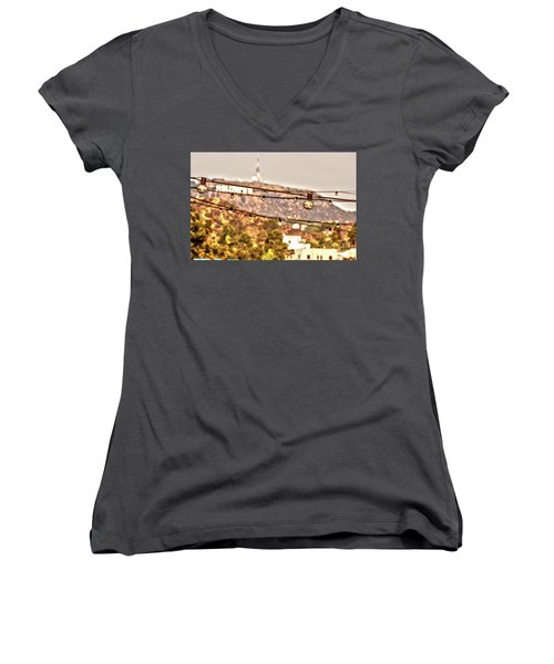 Women's V-Neck T-Shirt (Junior Cut) featuring the photograph Hollywood Sign On The Hill 6 by Micah May