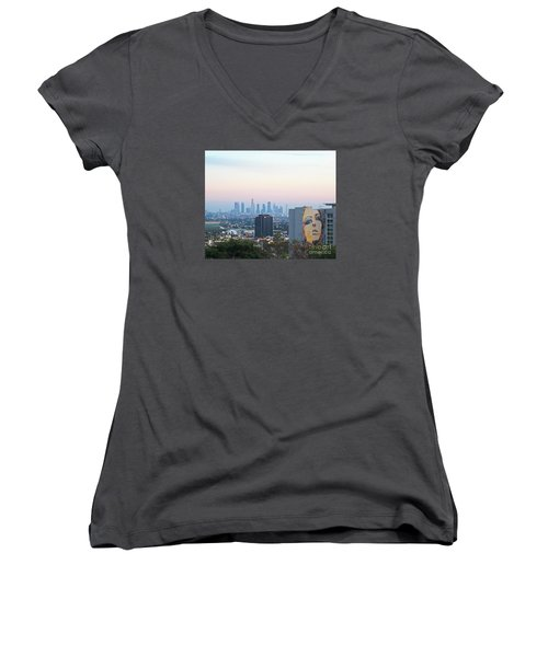 Hollywood View From Yamashiro's Women's V-Neck T-Shirt (Junior Cut) by Cheryl Del Toro