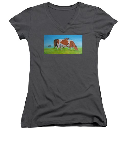 Holstein Friesian Cow And Brown Cow Women's V-Neck T-Shirt