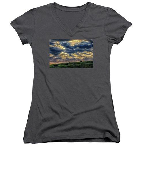 Holy Cow Women's V-Neck T-Shirt (Junior Cut) by Fiskr Larsen