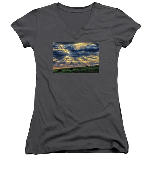 Women's V-Neck featuring the photograph Holy Cow by Fiskr Larsen