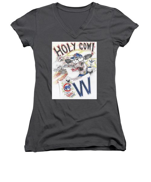 Holy Cow  Women's V-Neck T-Shirt (Junior Cut) by Scott and Dixie Wiley