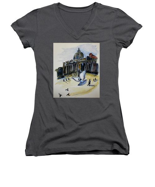 Holy Pigeons Women's V-Neck (Athletic Fit)
