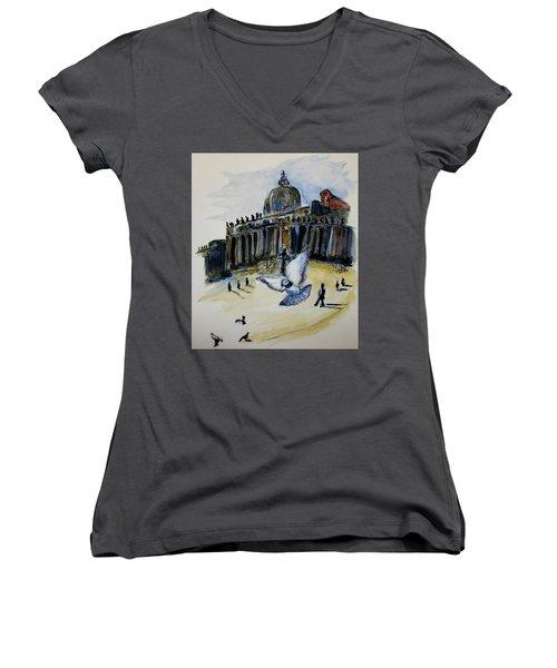 Holy Pigeons Women's V-Neck T-Shirt