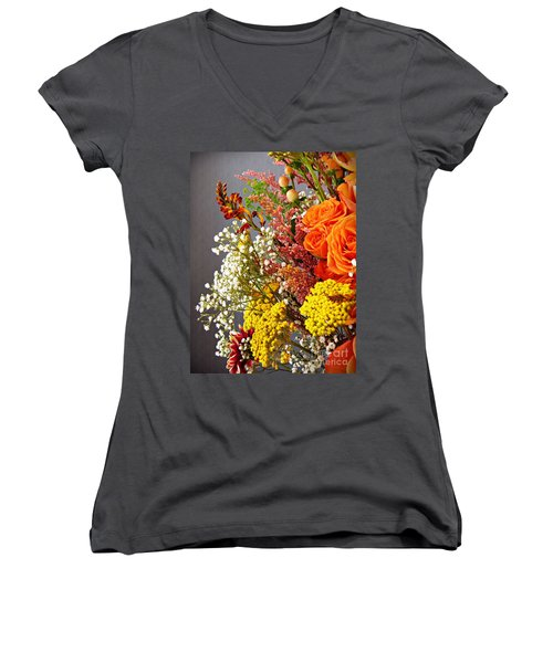 Women's V-Neck T-Shirt (Junior Cut) featuring the photograph Holy Week Flowers 2017 2 by Sarah Loft