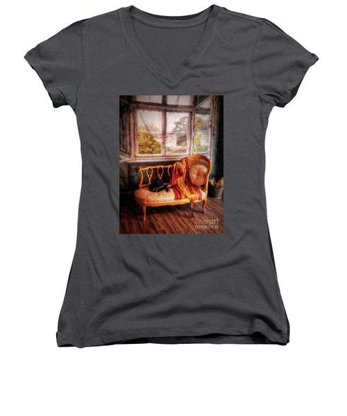 Home  At Last ... Women's V-Neck T-Shirt (Junior Cut) by Chuck Caramella