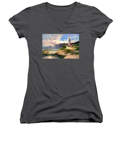 Home For The Night Women's V-Neck T-Shirt (Junior Cut) by Ron Chambers