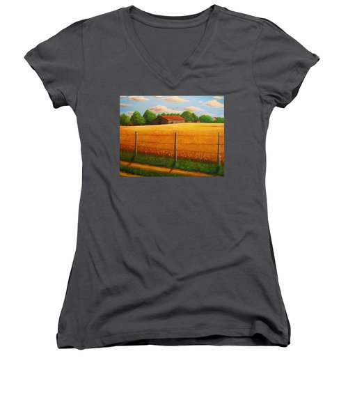 Women's V-Neck T-Shirt (Junior Cut) featuring the painting Home On The Farm by Gene Gregory