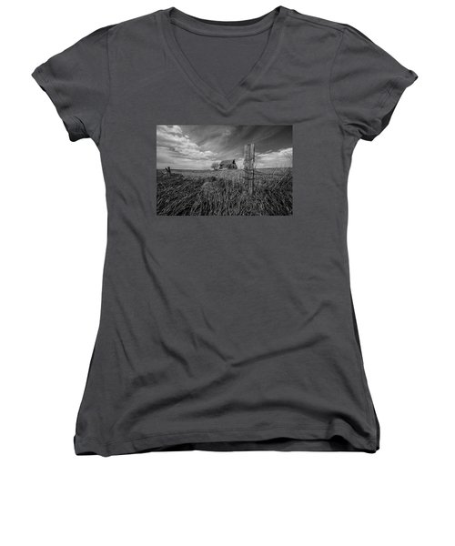 Women's V-Neck T-Shirt (Junior Cut) featuring the photograph Home On The Range  by Aaron J Groen