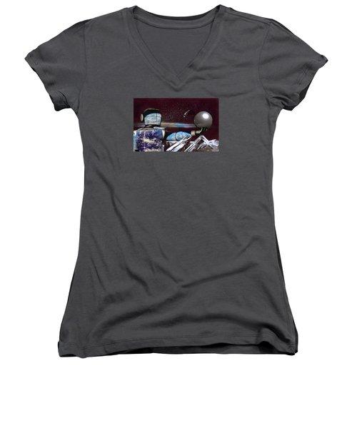 Home Opener Women's V-Neck T-Shirt (Junior Cut) by Mario Carini