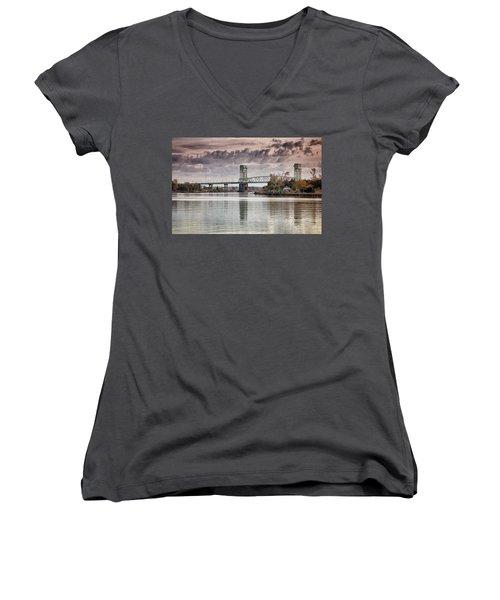 Cape Fear Crossing Women's V-Neck T-Shirt (Junior Cut) by Phil Mancuso