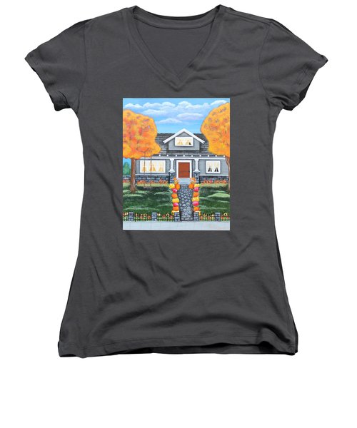 Home Sweet Home - Comes Autumn Women's V-Neck