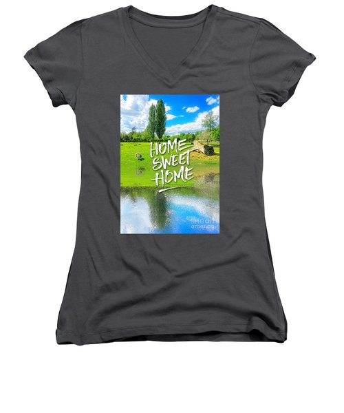 Home Sweet Home Pastoral Versailles Chateau Country Landscape Women's V-Neck