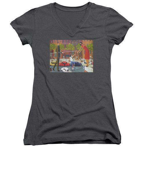 Women's V-Neck T-Shirt (Junior Cut) featuring the painting Homecoming by Glenn Quist