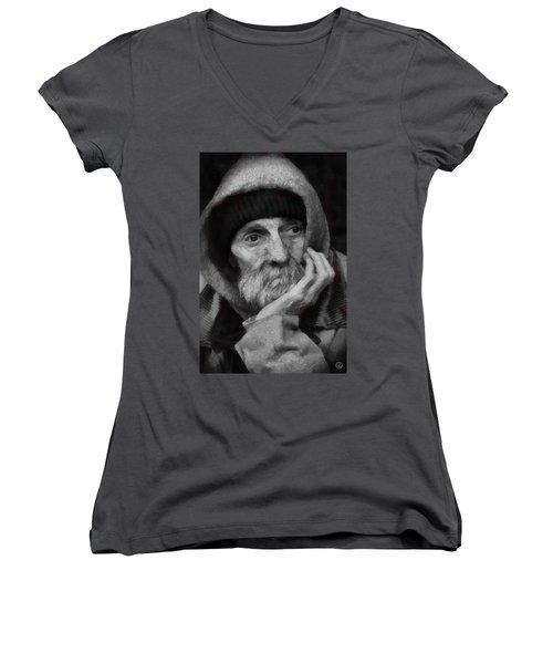Women's V-Neck T-Shirt (Junior Cut) featuring the digital art Homeless by Gun Legler