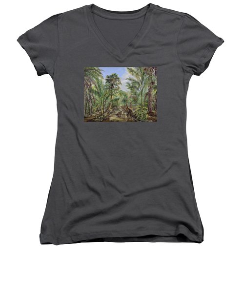 Homestead Tree Farm Women's V-Neck T-Shirt (Junior Cut) by AnnaJo Vahle