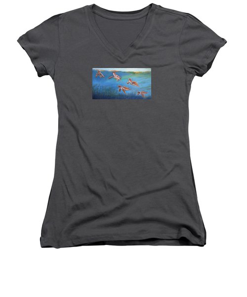 Women's V-Neck T-Shirt (Junior Cut) featuring the painting Homeward Bound by Ceci Watson