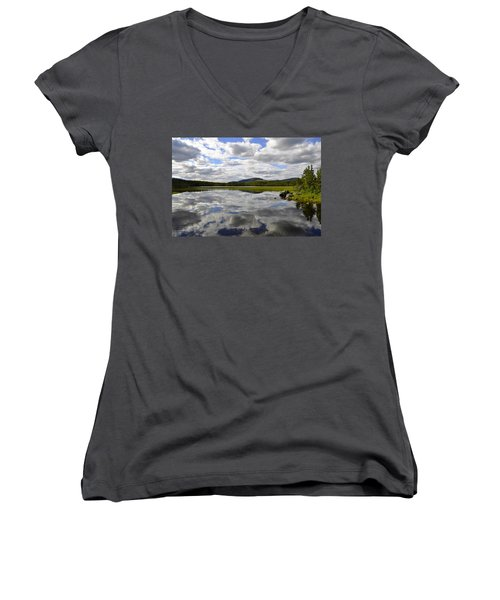 Hon Lake Women's V-Neck T-Shirt (Junior Cut) by Thomas M Pikolin